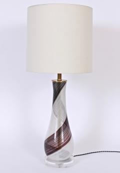 Dino Martens Dino Martens for Aureliano Toso Murano Glass Table Lamp in Black White Copper - 1630181