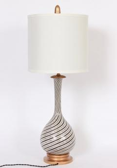 Dino Martens Tall Dino Martens Aureliano Toso Glass Table Lamp with Copper Swirl - 1583147