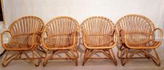 Dirk van Sliedregt Set of Four Rattan Lounge Chairs Center Table Dirk van Sliedregt 1960s - 1806003