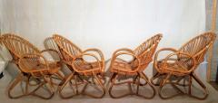 Dirk van Sliedregt Set of Four Rattan Lounge Chairs Center Table Dirk van Sliedregt 1960s - 1806004