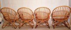Dirk van Sliedregt Set of Four Rattan Lounge Chairs Center Table Dirk van Sliedregt 1960s - 1806005