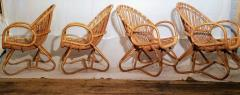 Dirk van Sliedregt Set of Four Rattan Lounge Chairs Center Table Dirk van Sliedregt 1960s - 1806007