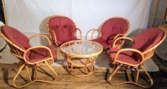 Dirk van Sliedregt Set of Four Rattan Lounge Chairs Center Table Dirk van Sliedregt 1960s - 1806020