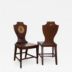 Distinctive Pair of English Regency Era Painted Mahogany Hall Chairs - 522849