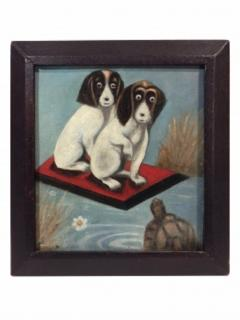 Dogs And a Turtle Folk Art Painting - 1220101