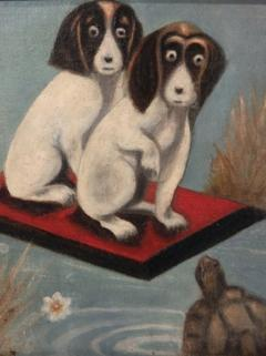 Dogs And a Turtle Folk Art Painting - 1220116
