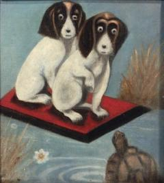 Dogs And a Turtle Folk Art Painting - 1220117
