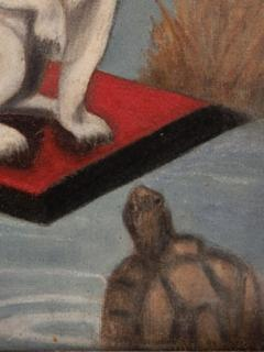 Dogs And a Turtle Folk Art Painting - 1220119