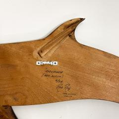 Dolphin Wood Wall Sculpture by Rob Roy Red Birch San Diego CA 6 94 - 1951257