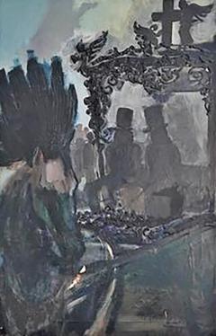 Domingo Barreres Signed Atmospheric Domingo Barreres Funeral Painting - 413492