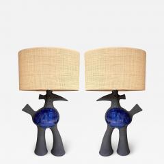 Dominique Pouchain Pair of Bird Ceramic Lamps by Dominique Pouchain France 2020 - 2075823