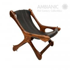 Don Shoemaker Don Shoemaker Exotic Wood SLOUCHER Leather Sling Chair for Senal MEXICO 1960s - 1532464