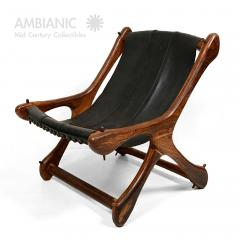 Don Shoemaker Don Shoemaker Exotic Wood SLOUCHER Leather Sling Chair for Senal MEXICO 1960s - 1532465