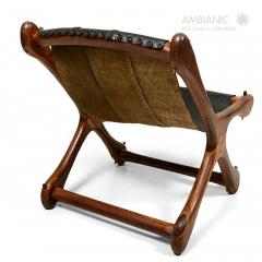 Don Shoemaker Don Shoemaker Exotic Wood SLOUCHER Leather Sling Chair for Senal MEXICO 1960s - 1532466