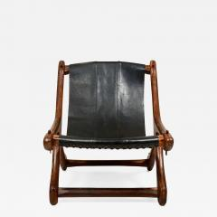 Don Shoemaker Don Shoemaker Exotic Wood SLOUCHER Leather Sling Chair for Senal MEXICO 1960s - 1533614