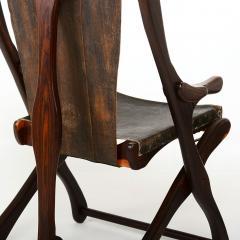 Don Shoemaker Mexican Modernist Don Shoemaker Famed Scissor Sling Folding Armchair w Ottoman - 1358763