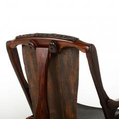 Don Shoemaker Mexican Modernist Don Shoemaker Famed Scissor Sling Folding Armchair w Ottoman - 1358764
