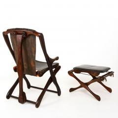 Don Shoemaker Mexican Modernist Don Shoemaker Famed Scissor Sling Folding Armchair w Ottoman - 1358765