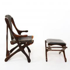 Don Shoemaker Mexican Modernist Don Shoemaker Famed Scissor Sling Folding Armchair w Ottoman - 1358766