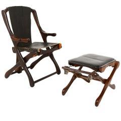 Don Shoemaker Mexican Modernist Don Shoemaker Famed Scissor Sling Folding Armchair w Ottoman - 1358769