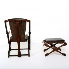 Don Shoemaker Mexican Modernist Don Shoemaker Famed Scissor Sling Folding Armchair w Ottoman - 1358770