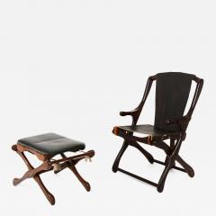 Don Shoemaker Mexican Modernist Don Shoemaker Famed Scissor Sling Folding Armchair w Ottoman - 1360076