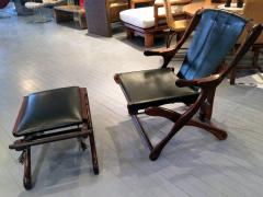 Don Shoemaker Rosewood and Leather Lounge Chair with Ottoman - 110833