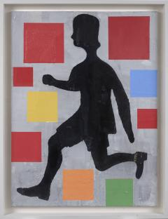 Donald Baechler Five Color Abstraction with Running Figure - 1141330