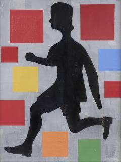 Donald Baechler Five Color Abstraction with Running Figure - 1141732
