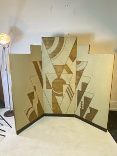 Donald Deskey ART DECO GEOMETRIC DESIGN THREE PANEL ROOM SCREEN IN THE MANNER OF DONALD DESKEY - 1793985