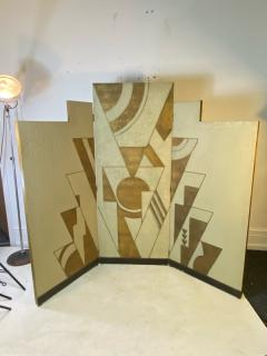 Donald Deskey ART DECO GEOMETRIC DESIGN THREE PANEL ROOM SCREEN IN THE MANNER OF DONALD DESKEY - 1793986
