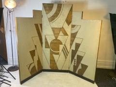 Donald Deskey ART DECO GEOMETRIC DESIGN THREE PANEL ROOM SCREEN IN THE MANNER OF DONALD DESKEY - 1793987