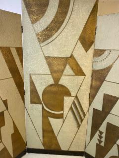 Donald Deskey ART DECO GEOMETRIC DESIGN THREE PANEL ROOM SCREEN IN THE MANNER OF DONALD DESKEY - 1793988