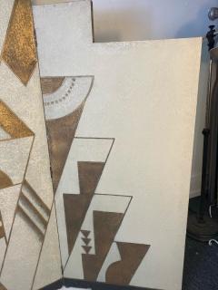Donald Deskey ART DECO GEOMETRIC DESIGN THREE PANEL ROOM SCREEN IN THE MANNER OF DONALD DESKEY - 1793989