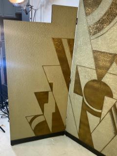 Donald Deskey ART DECO GEOMETRIC DESIGN THREE PANEL ROOM SCREEN IN THE MANNER OF DONALD DESKEY - 1793990