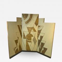 Donald Deskey ART DECO GEOMETRIC DESIGN THREE PANEL ROOM SCREEN IN THE MANNER OF DONALD DESKEY - 1806925
