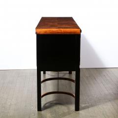 Donald Deskey Donald Deskey Art Deco Black Lacquer Burled Carpathian Elm Walnut Sideboard - 2050232