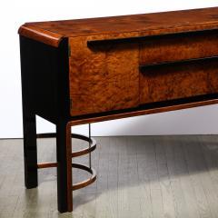 Donald Deskey Donald Deskey Art Deco Black Lacquer Burled Carpathian Elm Walnut Sideboard - 2050318