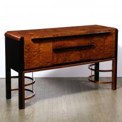 Donald Deskey Donald Deskey Art Deco Black Lacquer Burled Carpathian Elm Walnut Sideboard - 2050331