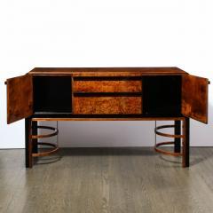 Donald Deskey Donald Deskey Art Deco Black Lacquer Burled Carpathian Elm Walnut Sideboard - 2050353