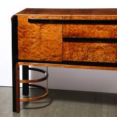 Donald Deskey Donald Deskey Art Deco Black Lacquer Burled Carpathian Elm Walnut Sideboard - 2050362