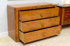 Donald Deskey Late Art Deco Burl Birch Three Drawer Commode Attributed to Donald Deskey - 348789