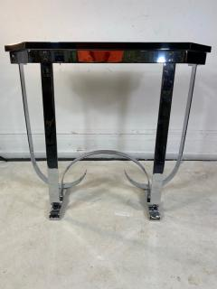 Donald Deskey MODERNIST ART DECO CURLICUE CHROME AND BLACK LACQUER CONSOLE - 1909700