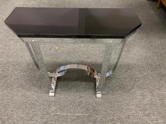 Donald Deskey MODERNIST ART DECO CURLICUE CHROME AND BLACK LACQUER CONSOLE - 1909711