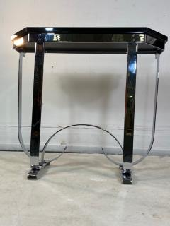 Donald Deskey MODERNIST ART DECO CURLICUE CHROME AND BLACK LACQUER CONSOLE - 1909713