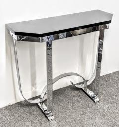 Donald Deskey MODERNIST ART DECO CURLICUE CHROME AND BLACK LACQUER CONSOLE - 1909714