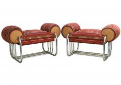Donald Deskey Pair of Art Deco Machine Age Tubular Chrome Bench Benches by Donald Deskey - 1956528