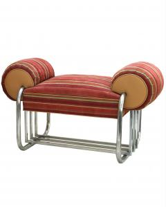 Donald Deskey Pair of Art Deco Machine Age Tubular Chrome Bench Benches by Donald Deskey - 1956529