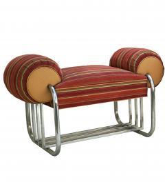Donald Deskey Pair of Art Deco Machine Age Tubular Chrome Bench Benches by Donald Deskey - 1956531