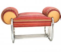 Donald Deskey Pair of Art Deco Machine Age Tubular Chrome Bench Benches by Donald Deskey - 1956532